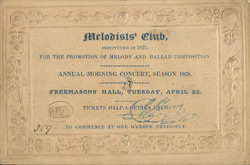 Ticket for a musical concert at the Freemasons Hall 4393